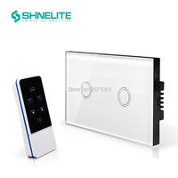Dropshipping US AU Standard White Crystal Glass Panel 110 240V 2 Gang Wireless Remote Control Touch