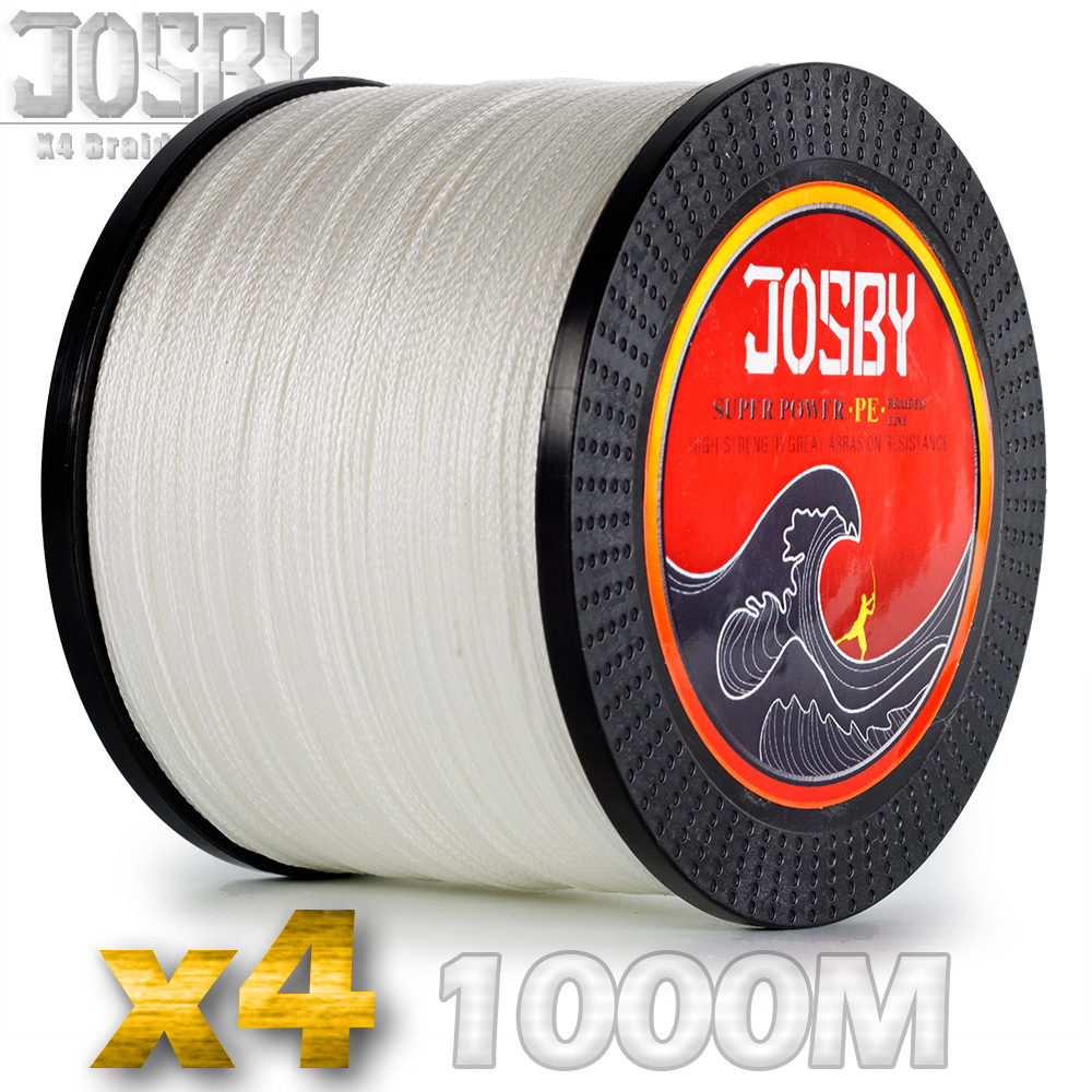 JOSBY PE Braided Fishing Line 1000m 4 Strand 100lb Lake Multifilament Wire 4 Strands Woven Thread for Carp Fishing10lb-85lb Whit