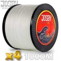 JOSBY PE tressé ligne de pêche 1000m 4 brin 100lb lac Multifilament fil 4 brins tissé fil pour carpe Fishing10lb-85lb Whit