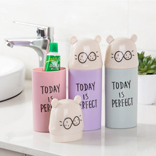 Plastic Cartoon Animal Toothbrush Cup with Cover Bathroom Mouthwash Travel Holder Home Accessories