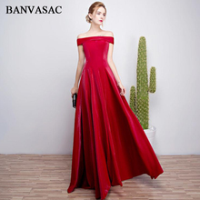 BANVASAC 2018 Boat Neck Short Sleeve Draped Long Evening Dresses Elegant Party A Line Taffeta Backless Prom Gowns