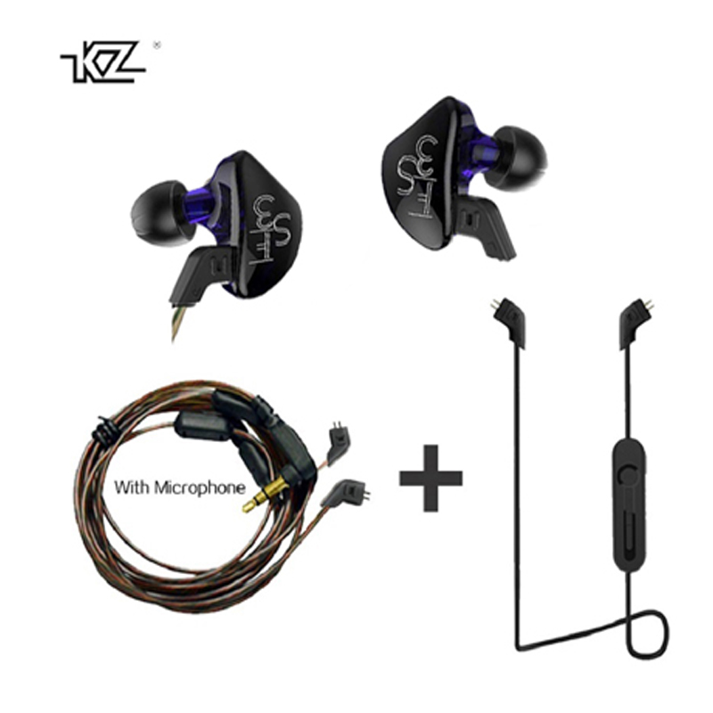 New KZ ES3 Balanced Armature Earphone Hybrid Driver With Mic 1DD+1BA Hybrid In Ear Monito Running Sport bluetooth cable earphone