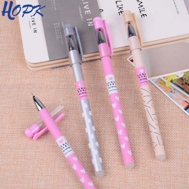 3 Pcs/Set Heart Dots Erasable Pen Blue / Black Ink Cute Ballpoint Pen 0.38mm For School Office Writing Supply Kids Stationery