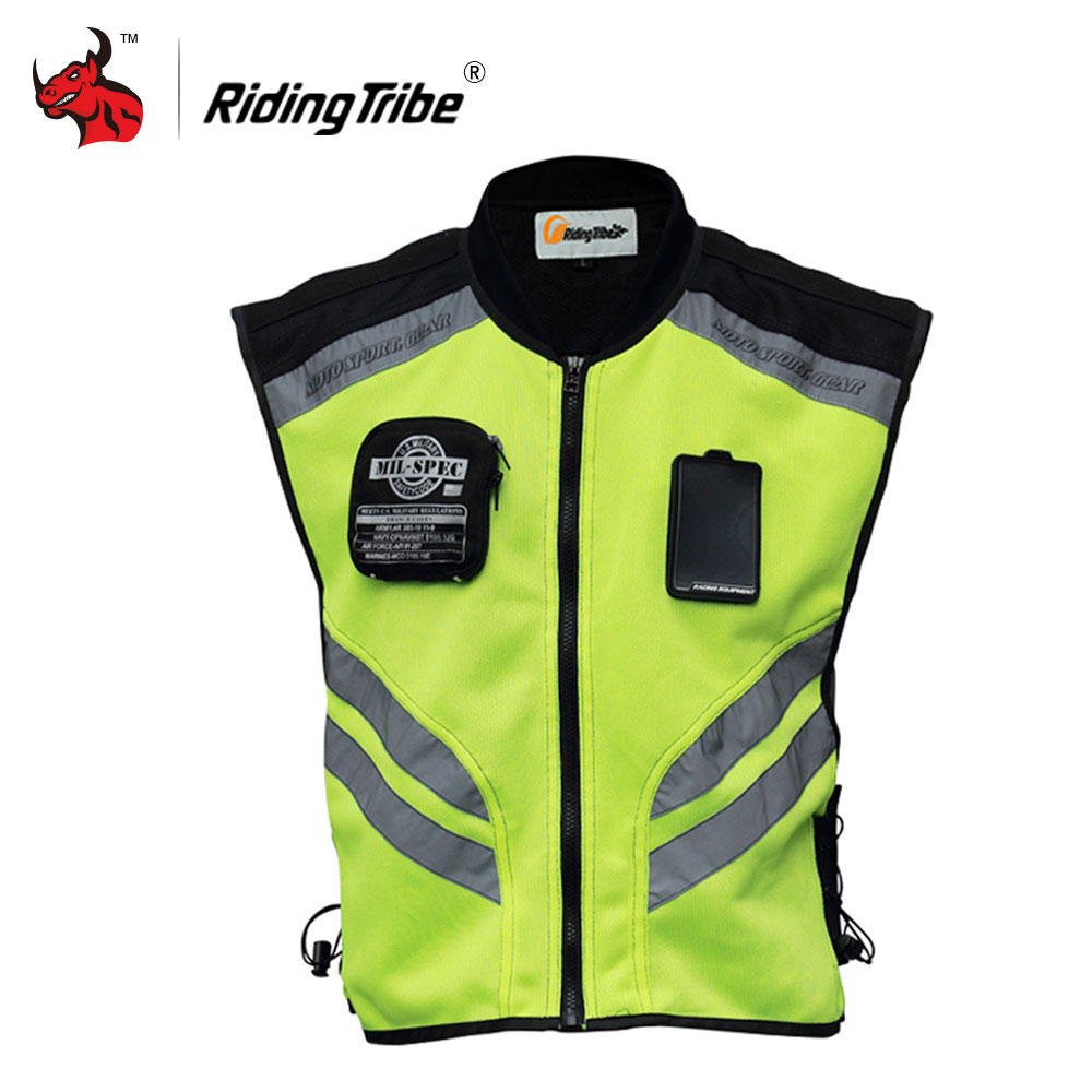 Riding Tribe Reflective Desgin Waistcoat Clothing Motocross Off-Road Racing Vest Motorcycle Touring Night Riding Jacket scoyco motorcycle motorbike touring riding jacket motocross off road racing jacket breathable clothing with 7 pieces protectors
