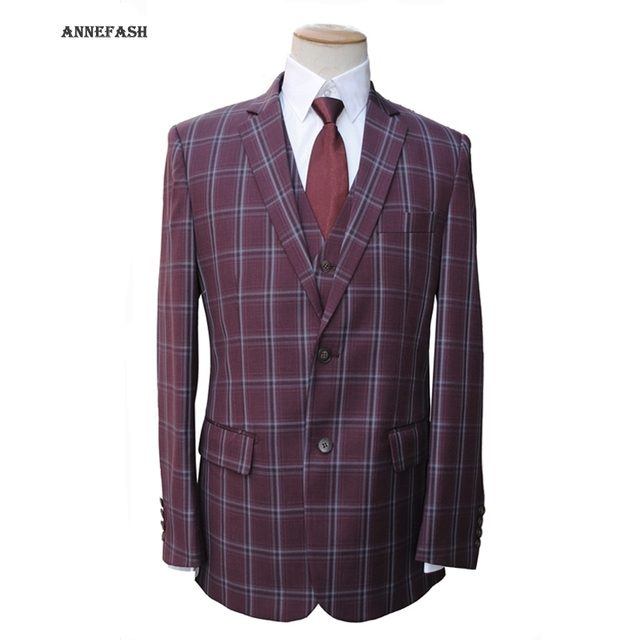 13a35412000 Custom Made high quality 150 s worsted pure wool wine red windowpane check Suit  Men Slim Fit Suit(jacket+pants+vest) 22 color
