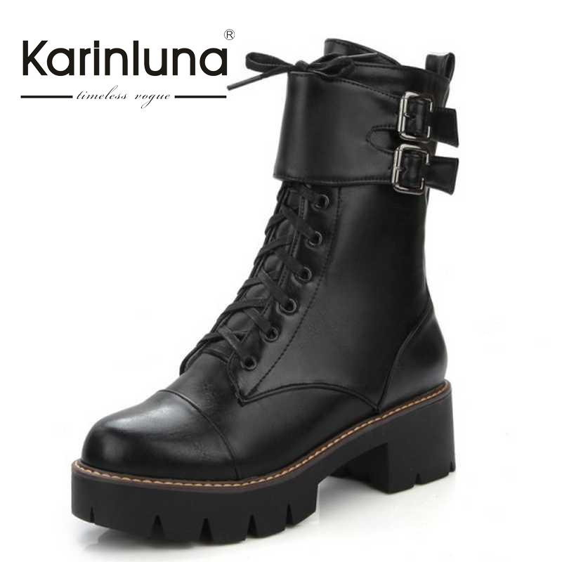 ФОТО Plus Size 34 43 Women Ankle Knight Boots Buckle Straps Lace Up Skid proof Chunky Heels Shoes Woman 3 Colors Cowboy Style