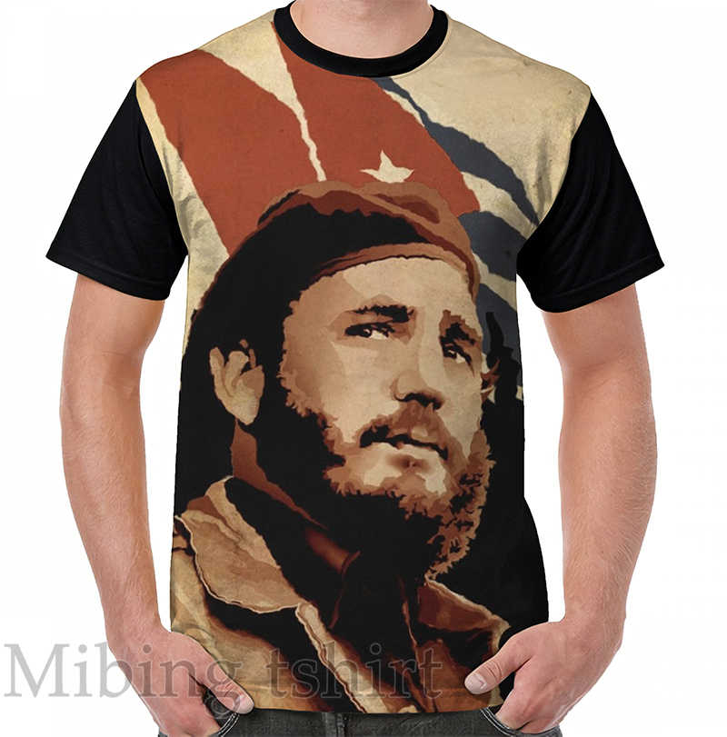 Grappige print mannen t-shirt vrouwen Tops tee Fidel Castro Grafische T-Shirt O-hals Korte Mouw Casual t-shirts