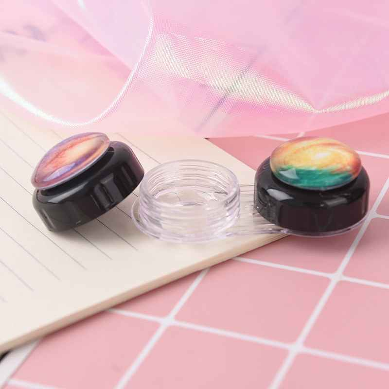 1 PC Starry พิมพ์พ็อกเก็ตพลาสติก Contact Lens Case ชุดเดินทางใช้งานง่ายผู้ถือคอนเทนเนอร์สีสุ่ม