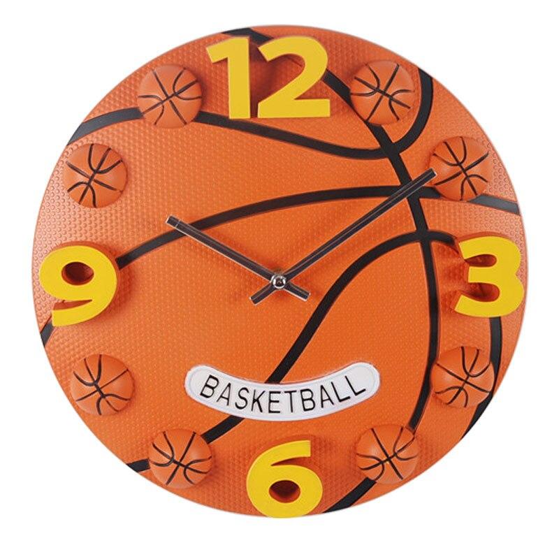 Sport créatif basket-ball horloge murale garçons horloges de chambre montre murale décor à la maison silencieux 12 pouces Simple Design moderne horloges murales
