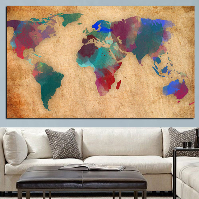 Abstract 3d Watercolor World Map Canvas Painting Retro Globe Maps Hd