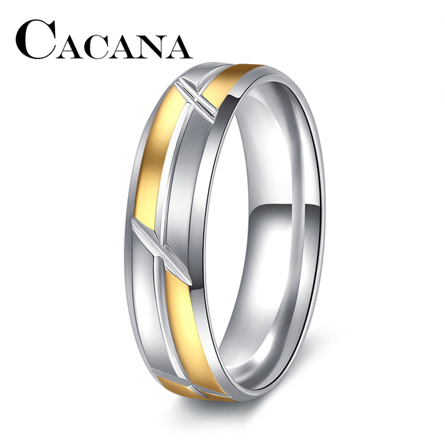 CACANA Punk Rock Style Gold silver Ring Mens Fashion Chunky Finger Bling Hip Hop