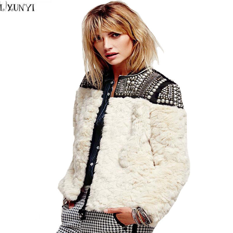LXUNYI Winter 2018 Heavy Beading Rivet Patchwork Short Fur Coats Women White Faux Rabbit Fur Coat Europe Style Women's Outerwear pearl beading textured faux fur coat