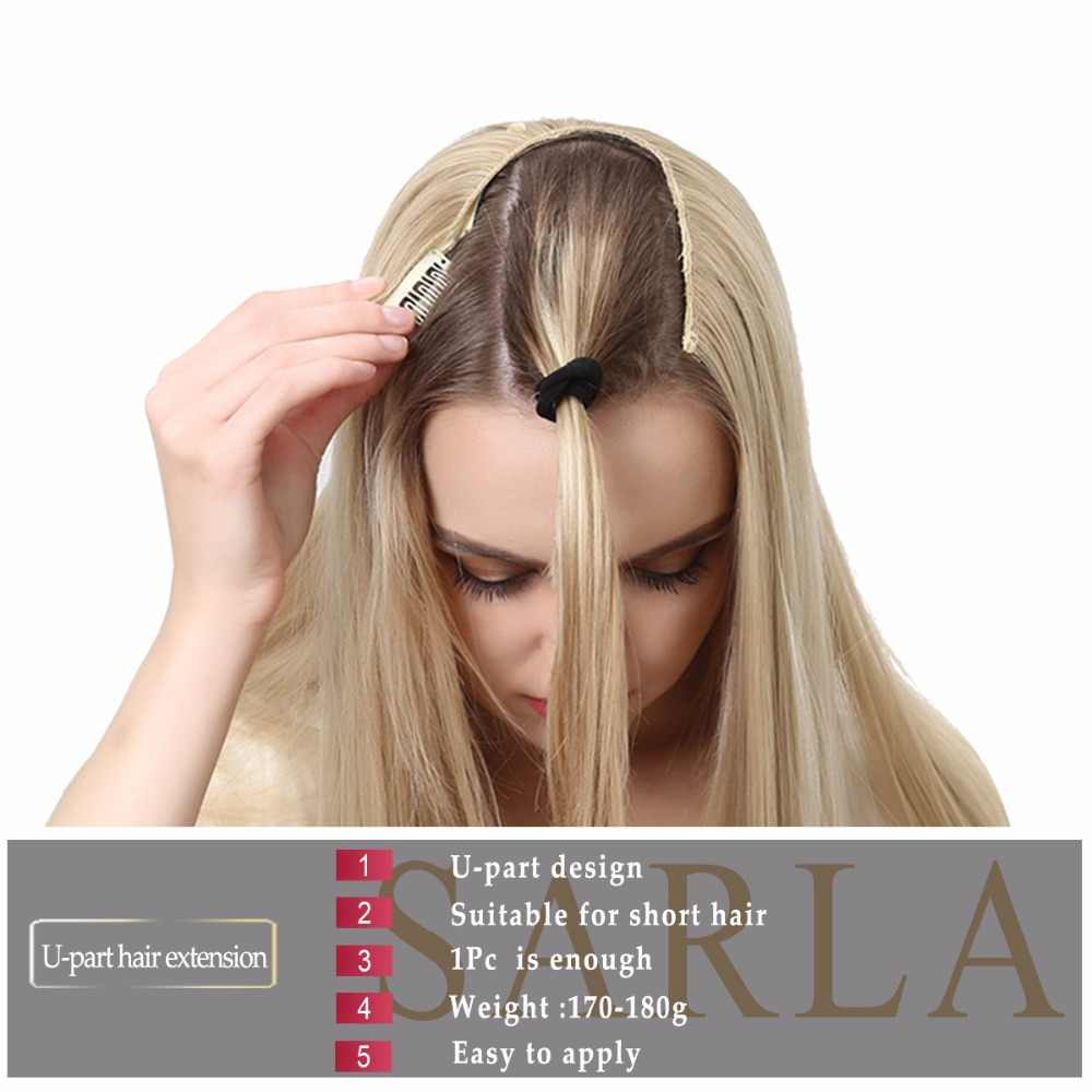 """SARLA 24"""" U-Part Synthetic Hair Extension Clip In Long Thick Curly Natural Blonde Flase Hair Hairpieces For Women Heat Resistant"""