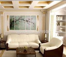 Hand Painted Landscape 5 Panels Oil Painting Canvas Wall Decor Red Wintersweet Living Room Decoration Gift
