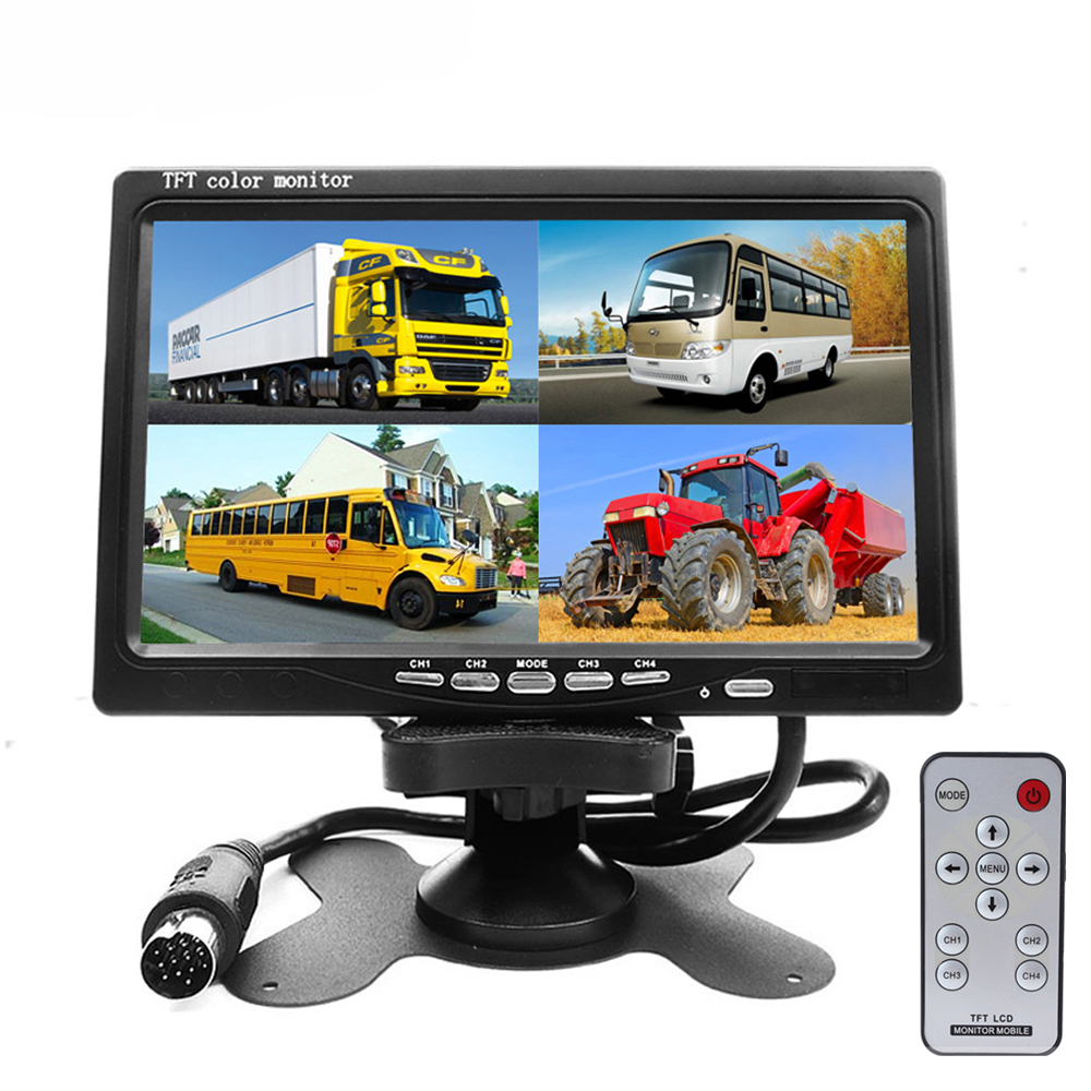 7 Split Quad Monitor TFT LCD Monitor Video Input PC Audio Video Display For Front Rear Side View Camera Display Car-styling 4 3 inch display tft color lcd monitor cctv camera monitor 2 av input 1 way for rear view