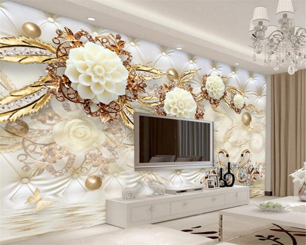 Beibehang 3d tapete luxus gold wei e blume weiche tasche for 3d tapete gold