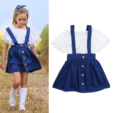 Toddler Girls Dress Autumn and Winter Children Girls Short Sleeve Shirts+Blue Strap Dress Kids Dresses For Girls Princess Dress цена