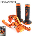 Orange CNC Aluminum Brake Clutch Levers Short Adjustable + Rubber Hand Grips for KTM DUKE 125 200 All Year 390 2013 2014 2015