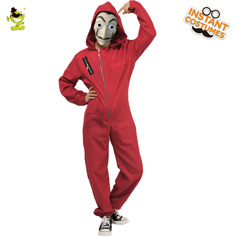 Women's La Casa De Papel Salvador Dali Cosplay Red Jumpsuit Costume Salvador Dali  Movie Halloween Party Costumes