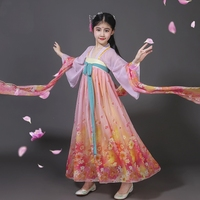 Chinese folk dance costume clothing hanfu girls kids stage wear national ancient traditional Chinese dance costumes DD1940