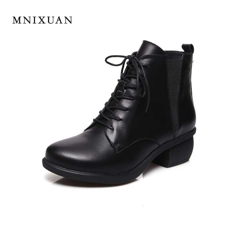 Women boots 2017 winter genuine leather ankle boots round toe black ladies shoes block medium heels short martin boots size 41 women led light shoes casual shoes led luminous boots unisex genuine leather ankle boots women usb charging martin boots 35 46
