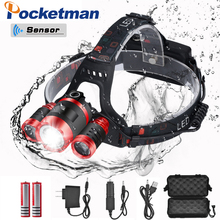 15000LM sensor headlight LED T6 Headlamp Head Lamp Fishing lighting bicycle Light Flashlight Torch Lantern For Camping light usb 15000lm 5 led headlamp 3 cree xml t6 2q5 white blue light headlight head lamp lighting flashlight torch lantern fishing