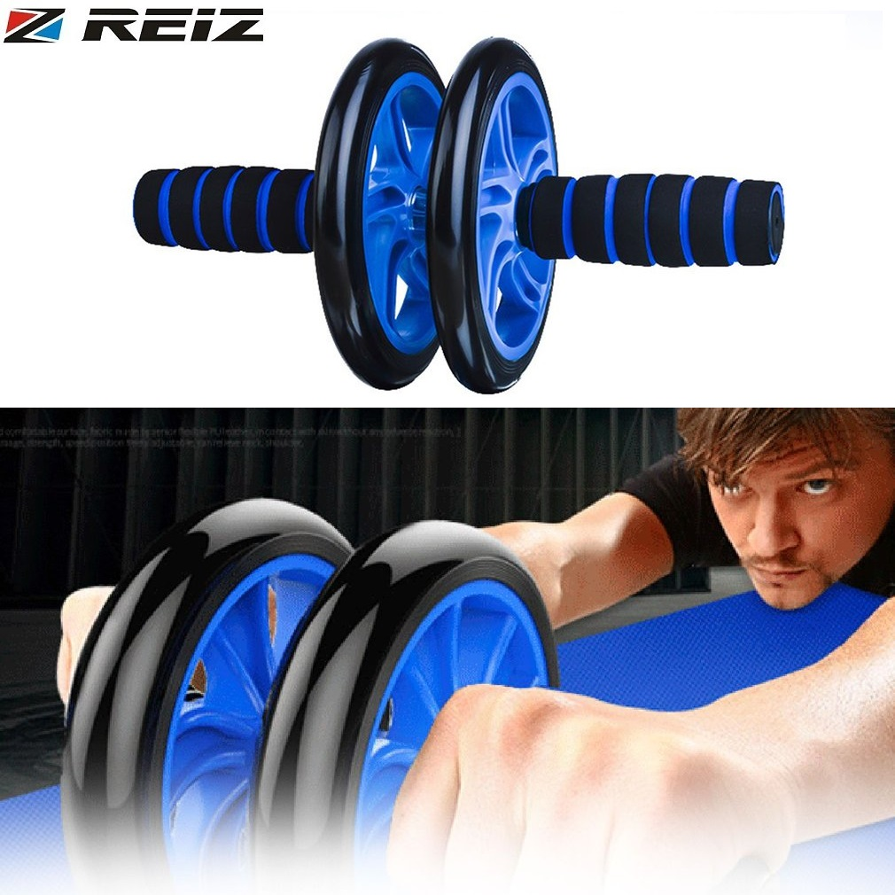 REIZ Abdominal Fitness Wheel Workout Gym Roller for Arms Back Belly Core Trainer Roller Double Wheels Fitness Equipment Supplies