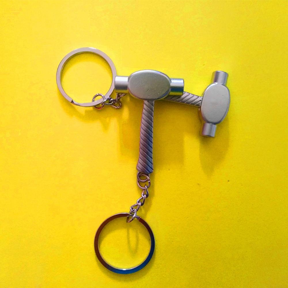 50 Pcs Mini tool keychains hammer keyring mace keychain metal keychain zinc alloy key ring tool