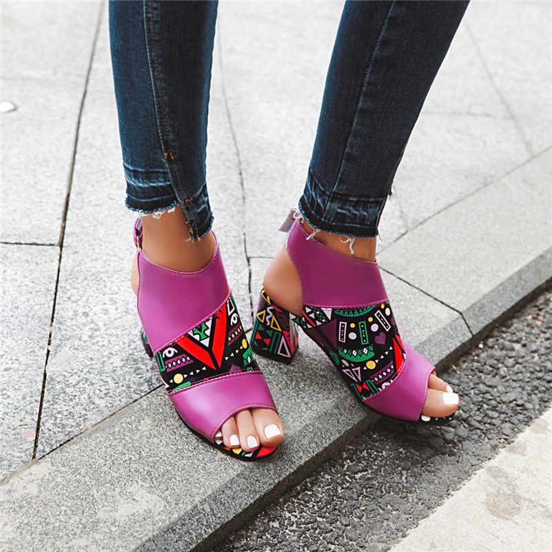 FEDONAS klasik Peep Toe yüksek topuklu kadın yarım çizmeler moda baskı Pu deri 2020 yaz sandalet nefes ofis ayakkabı kadın
