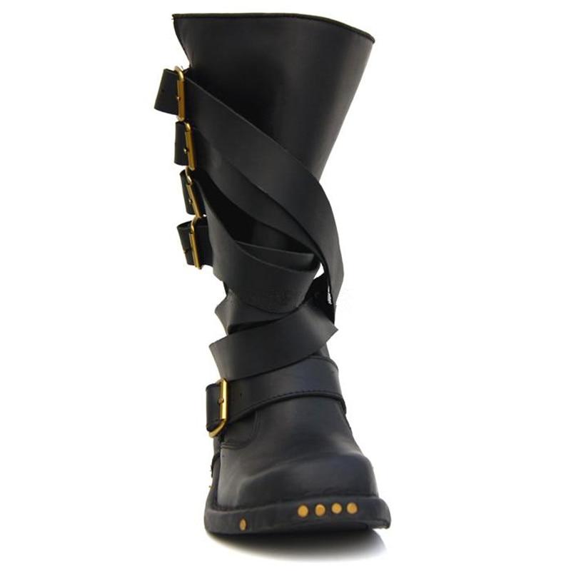 Noir Punk mollet En Plate À Cuir De Haut Bottes Style Sangles Noir Boot Perfetto Botas Mujer Véritable Femmes marron Caoutchouc Femme forme Mi Prova Chevalier 5EqvC
