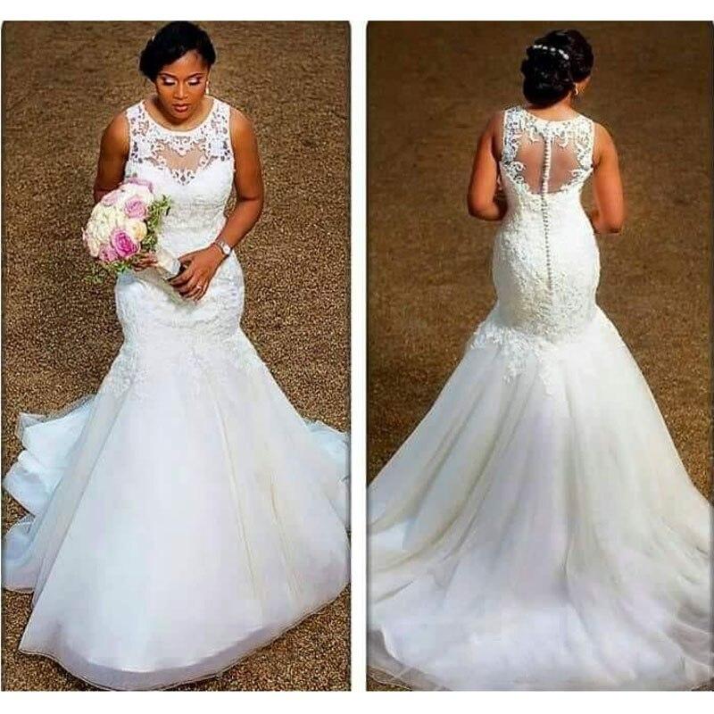 0dc5051a4ab Sirène De Pas Mariée Cou Sheer Plus Élégant Robe La Tulle Noiva Robes  Appliques Nigérian Blanc ...