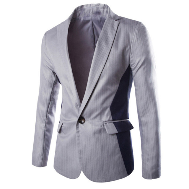 Хлопок Новая Мода Blazer Мужская Одежда Вскользь Уменьшают Одной Кнопки Костюмы Blazer Pacthwork Тощий Blazer Плюс Размер XL 2XL