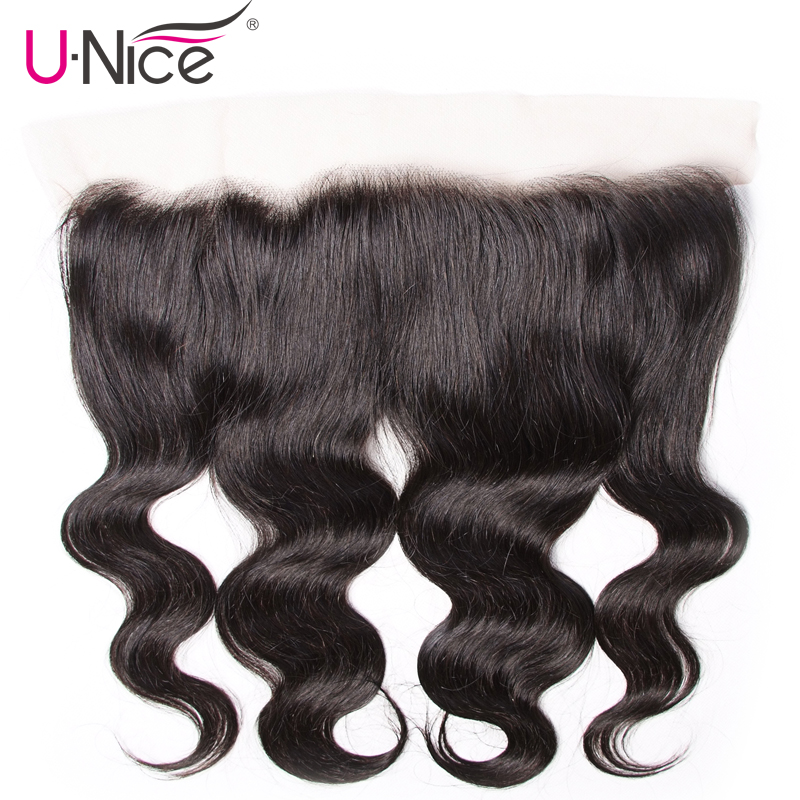 UNice Hair Indian Body Wave Lace Frontal Ear to Ear Remy Hair Free Part 100 Human