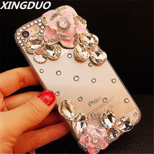 XINGDUO For iPhone 6 6S 7 8 Plus X XS MAX XR Luxury Fashion 3D Flower Bling Rhinestone Transparent case Soft TPU Back Cover