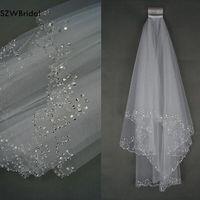 Fashion Two layer Bead Edge wedding veil 2019 Short bridal veil Wedding accessories Veu de noiva voile mariage