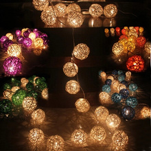 2m 20 Rattan Ball Led string light christmas 220V 110V garden holiday pendant Garland Wedding decoration fairy lights party