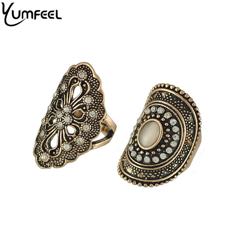 Yumfeel New Vintage Boho Jewelry Rings Metal with Antique Plated Crystal Ring Set for Women