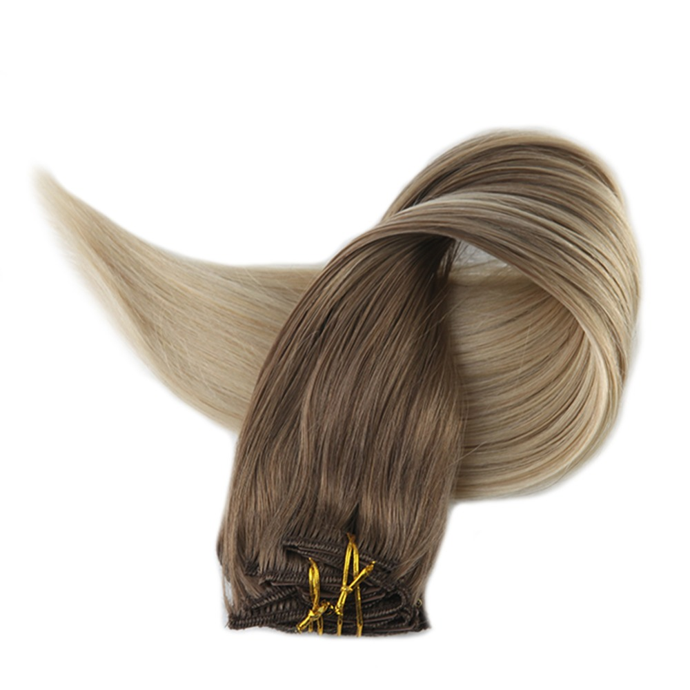 Full Shine Remy Hair Extensions With Clips 10Pcs Blond Color #8 Fading To 60 Highlighted 100g Real Human Hair Clip In Extensions