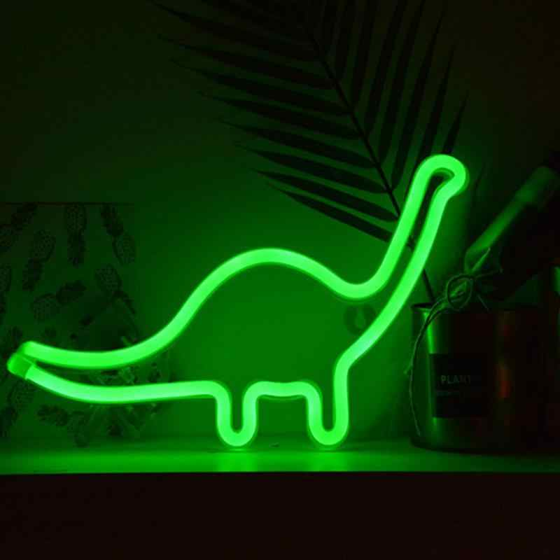 В форме Динозавра Дизайн светлая неоновая вывеска стены комнаты украшения дома светодиодный ночник домашний орнамент (GJ-Динозавр зеленый)