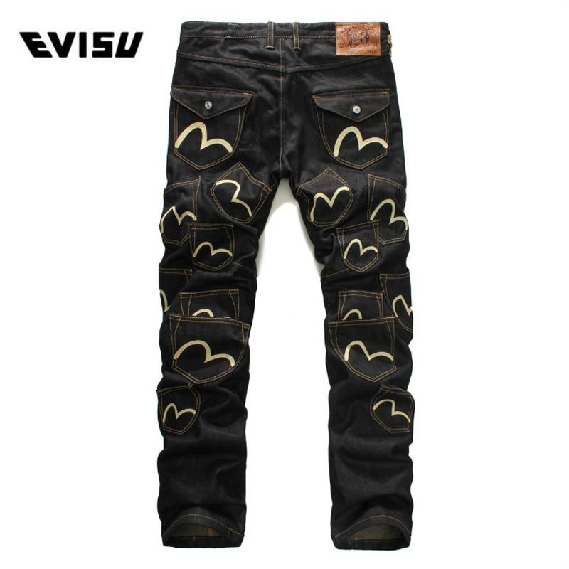 Evisu 2018 Men hipster   jeans   Casual Fashion Trousers Hip-hop Men Pockets   Jeans   Straight Long Classic Black   Jeans   For Men 6127