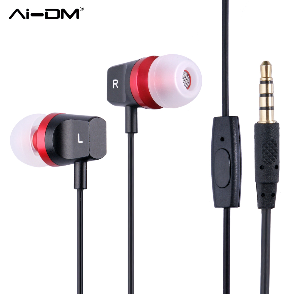AIDM Earphone in-ear Wired Line Type Metal Ear Phones Fashion Women Girl Super Bass Stereo Headset For Mobile PC Sport Earphones