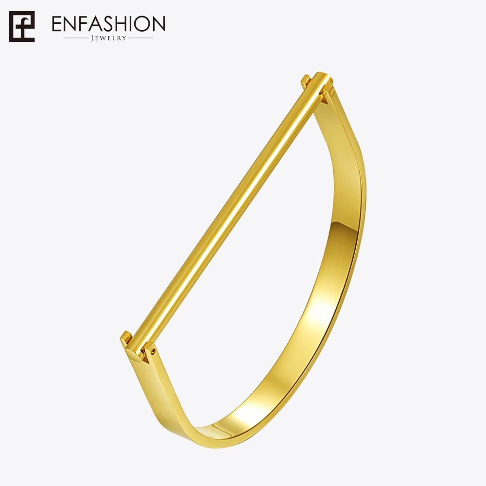 Enfashion Modern U Cuff Bracelet Manchette Gold color Stainless Steel Bangle Bracelet For Women Bracelets Bangles Wholesale delicate alloy butterfly cuff bracelet for women