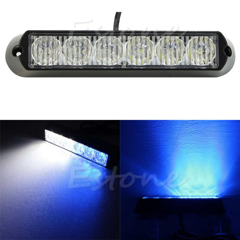 CYAN SOIL BAY Car Truck Emergency Beacon DRL 6 LED Lamp Hazard Strobe Warning Light White+Blue