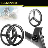 Tubular Tri Spoke Wheels 3K Glossy 60mm Three Spoke Wheelset Tubular Carbon 3 Spoke Wheel For