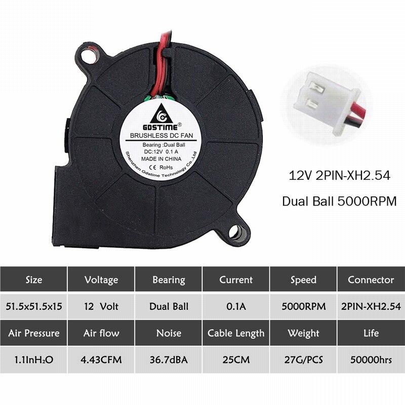 2 шт. Gdstime 5015 50 мм DC 24 в 12 В 5 В 2Pin шариковый/втулка подшипник бесщеточный охлаждения турбины вентилятор 50 мм x 15 мм Вентилятор Кулер - Цвет лезвия: 12V Ball 5000RPM