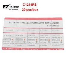 C1214RS EZ Branco Agulhas Cartucho Agulhas de Tatuagem Rodada Shader #12 0.35mm longo Cone 3.5mm para Máquina De Sistema e Apertos 20 pcs/caixa