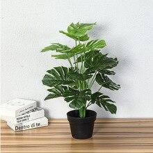 60 см искусственное натуральное на ощупь Monstera, искусственные растения на Тропическое дерево, растения для дома и сада, Декор без горшка