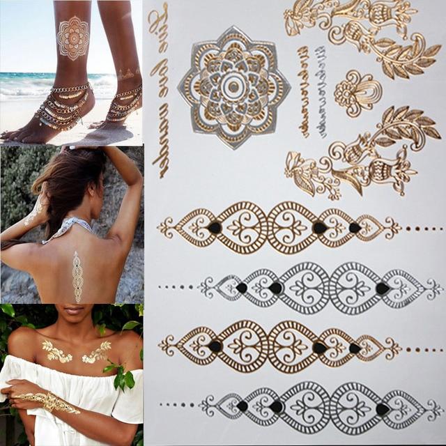 Бесплатный шопинг новая мода цветок тело, и Я временные татуировки хной металлическое золото и серебро браслет Flash наклейки татуировки искусство