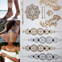 New fashion waterproof tattoo glowing gold tattoos tattoo metal temporary flash henna tattoos Arabic Tatto tattoos
