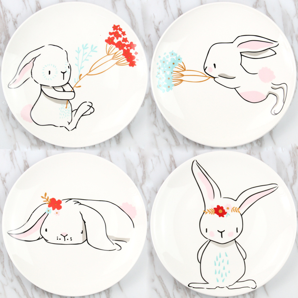 4Pcs Lot Cartoon Cute Rabbit Bunny Disc Porcelain Service Breakfast Dessert Bread Butter Dinner Plate Set